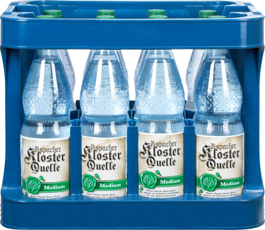 Abbildung des Sortimentsartikels Klosterquelle Mineralwasser Medium 12/1,0l
