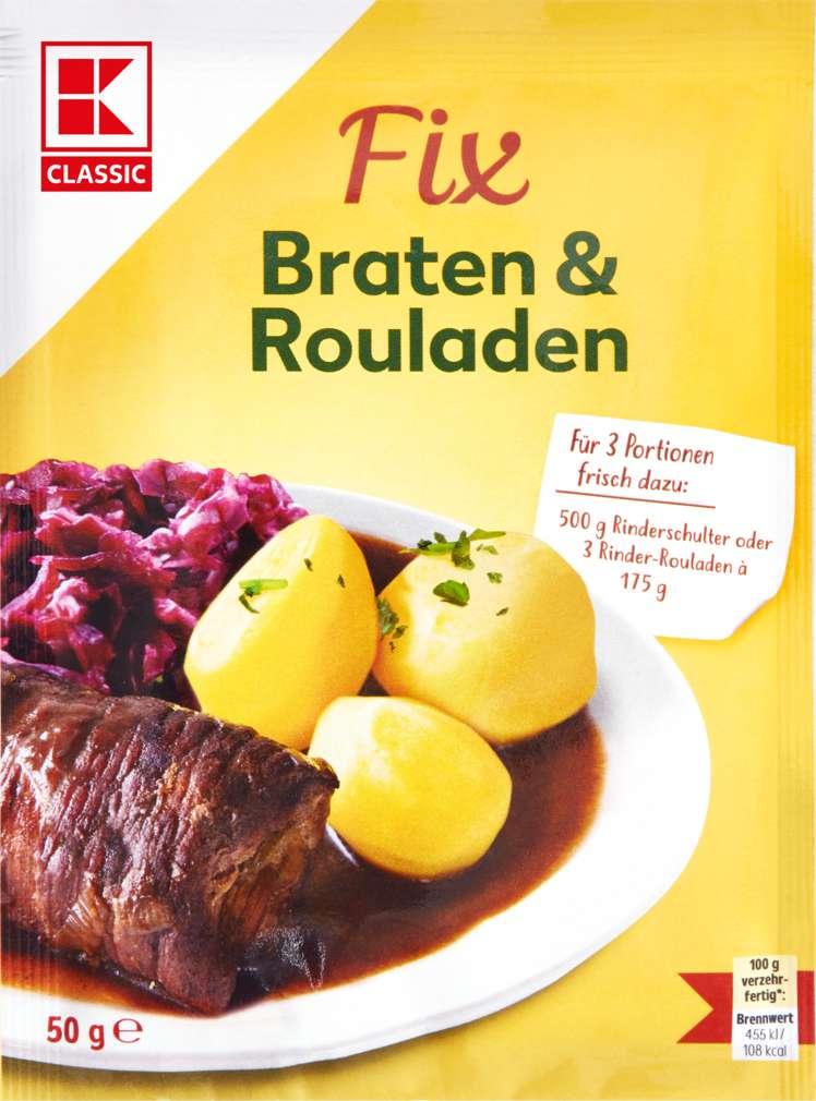 Abbildung des Sortimentsartikels K-Classic Fix für Fleischgerichte Braten & Rouladen 4 Portionen