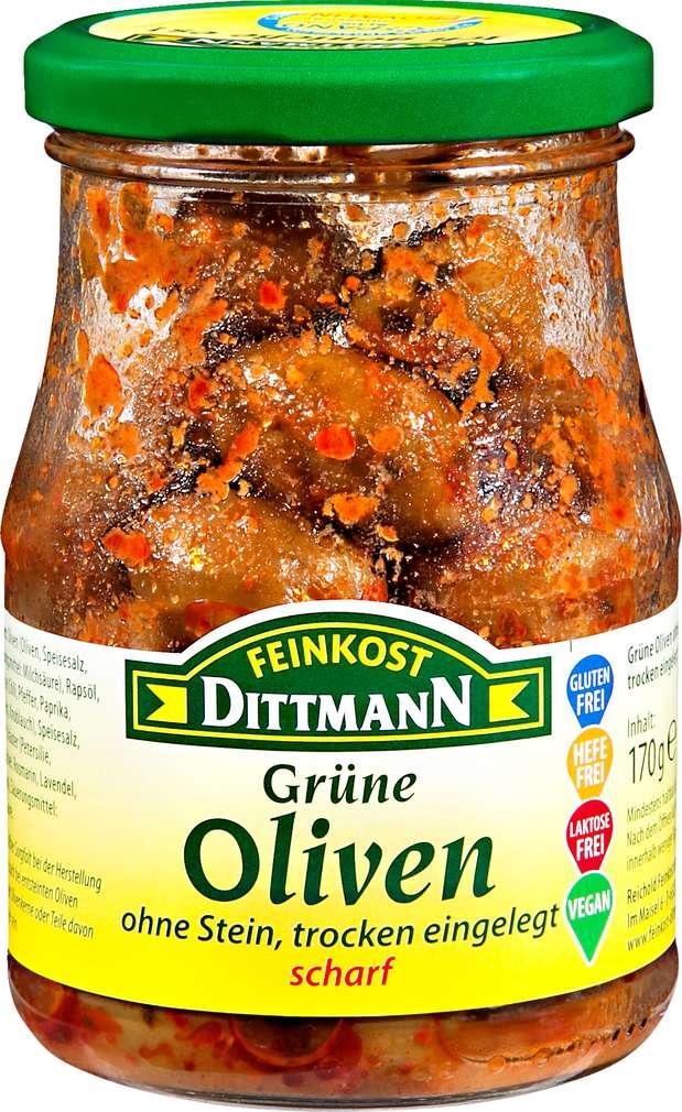 Abbildung des Sortimentsartikels Feinkost Dittmann Grüne Oliven, ohne Stein, trocken eingelegt, scharf 170g