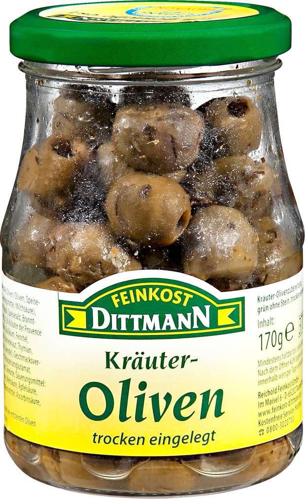 Abbildung des Sortimentsartikels Feinkost Dittmann Kräuer-Oliven trocken eingelegt 170g