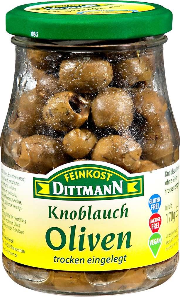 Abbildung des Sortimentsartikels Feinkost Dittmann Knoblauch Oliven trocken eingelegt 170g