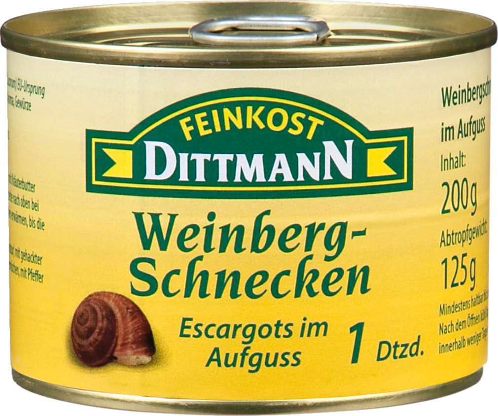 Abbildung des Sortimentsartikels Feinkost Dittmann Weinberg-Schnecken, Escargot im Aufguss 12 Stück 200g