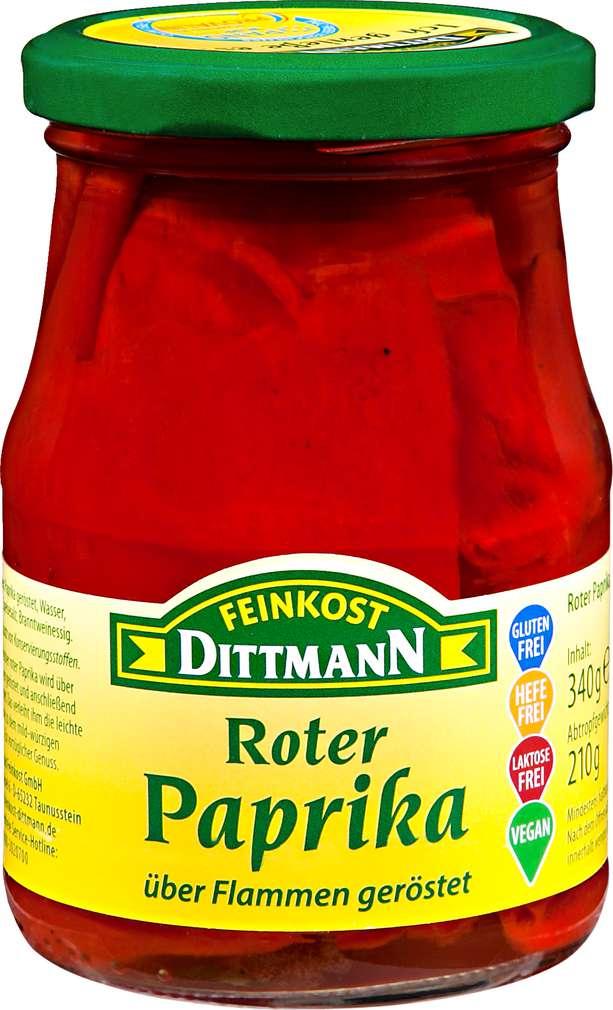 Abbildung des Sortimentsartikels Feinkost Dittmann Roter Paprika über Flammen geröstet 340g