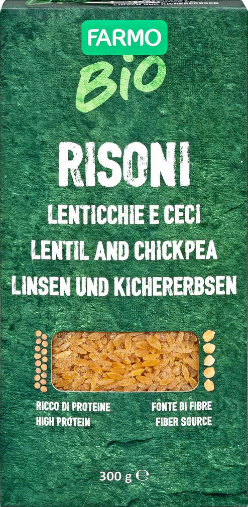 Abbildung des Sortimentsartikels Farmo Bio Reisoni Linsen Kichererbsen 300g