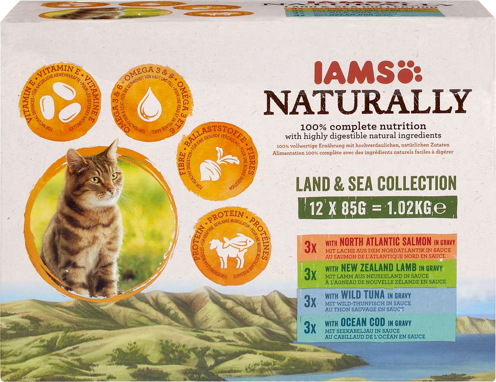 Abbildung des Sortimentsartikels IAMS naturally Land & See Katzennahrung 12x85g