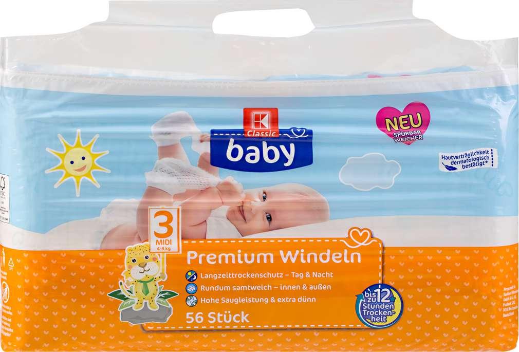 Abbildung des Sortimentsartikels K-Classic Baby Premium Windeln Midi 56 Stück