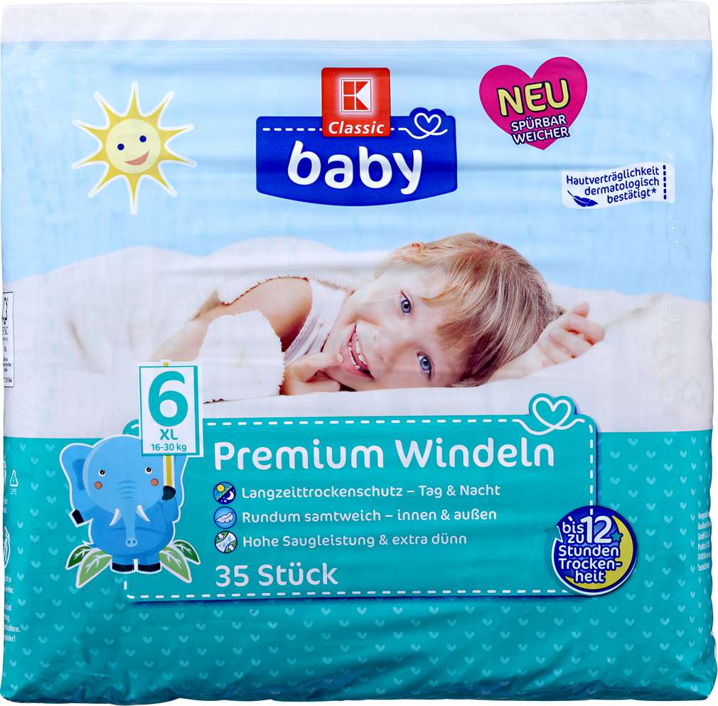 Abbildung des Sortimentsartikels K-Classic Baby Windeln Größe 6 XL 35 Stück