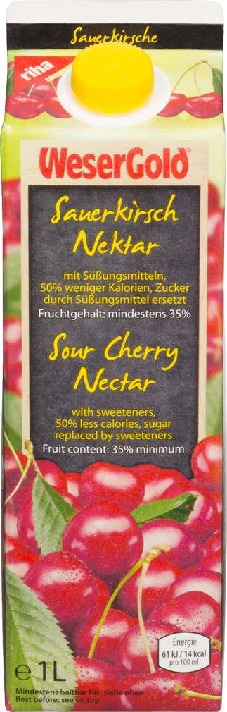 Abbildung des Sortimentsartikels Wesergold Sauerkirsch-Nektar weniger Kalorien 1l