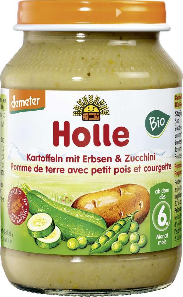 Abbildung des Sortimentsartikels Holle Demeter Erbse/Zucchini ab dem 6. Monat 190g