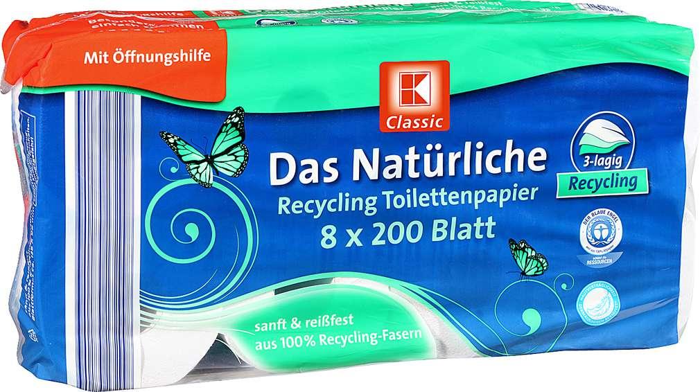 Abbildung des Sortimentsartikels K-Classic Das Natürliche Recycling Toilettenpapier 8x200Blatt