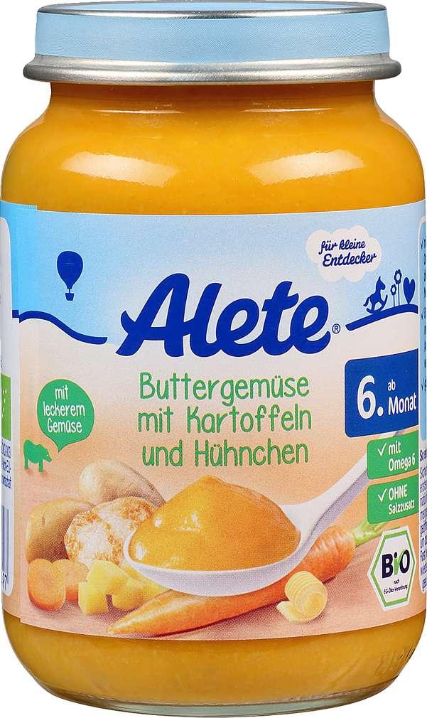 Abbildung des Sortimentsartikels Alete Buttergemüse mit Kartoffeln und Hühnchen 190g