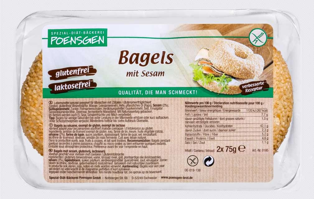 Abbildung des Sortimentsartikels Poensgen Bagels Sesam glutenfrei 150g