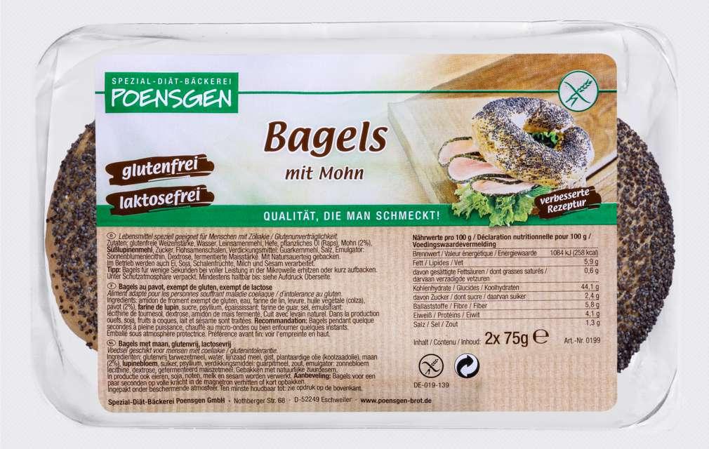 Abbildung des Sortimentsartikels Poensgen Bagels Mohn glutenfrei 150g