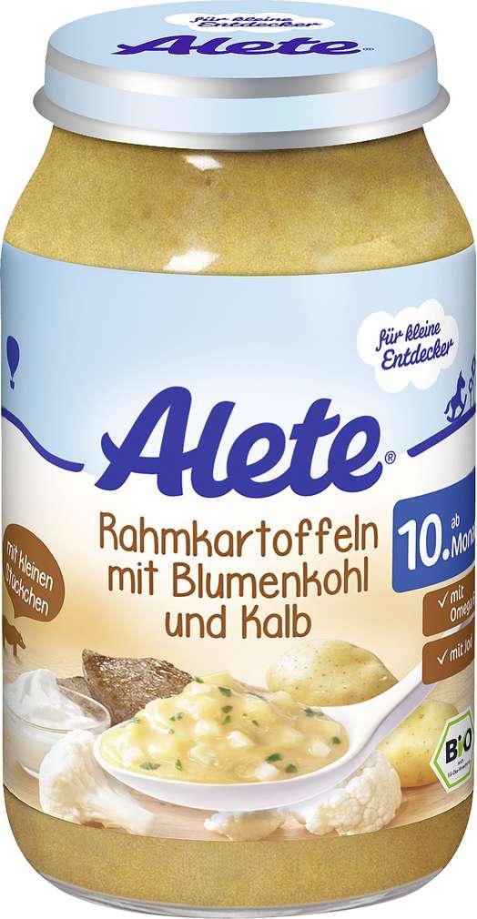Abbildung des Sortimentsartikels Alete Rahmkartoffeln mit Blumenkohl und Kalb 220g