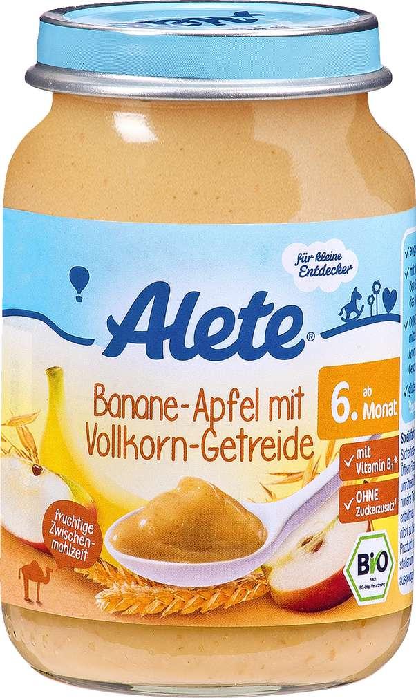 Abbildung des Sortimentsartikels Alete Banane-Apfel mit Vollkorn-Getreide 190g