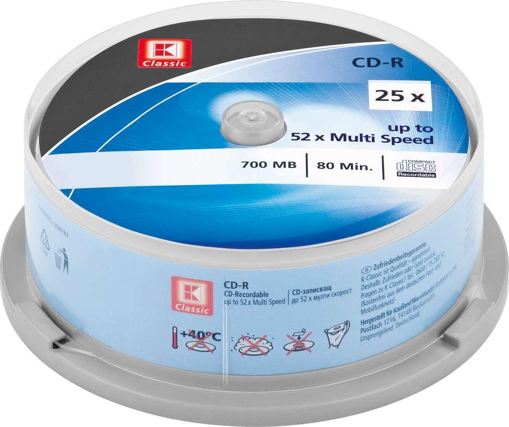 Abbildung des Sortimentsartikels K-Classic CD-R Rohlinge 700MB 25 Stück