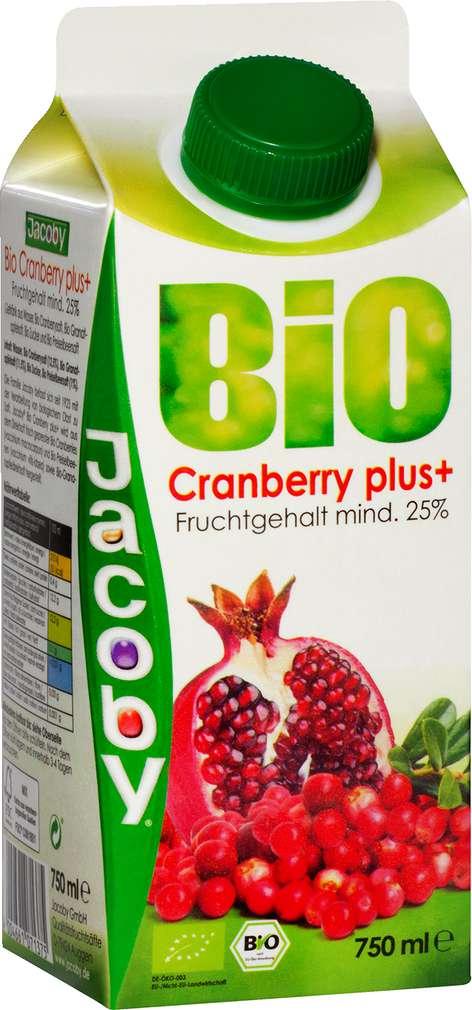 Abbildung des Sortimentsartikels Jacoby Bio Cranberry plus+ 0,75l