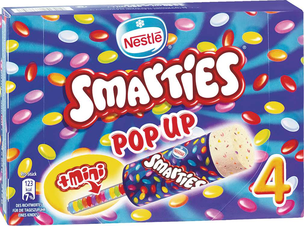 Abbildung des Sortimentsartikels Nestlé Smarties Eis 340ml, 4 Stück