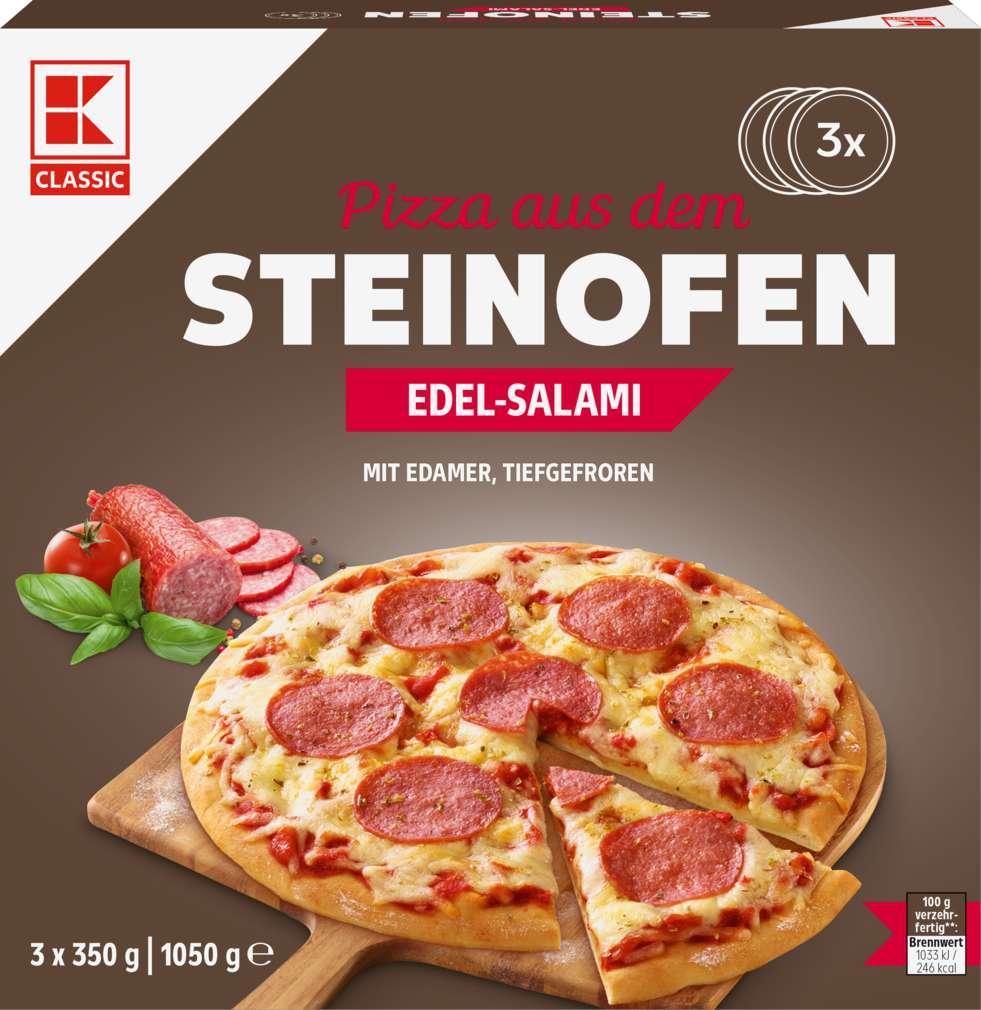 Abbildung des Sortimentsartikels K-Classic Steinofen-Pizza Edelsalami 1050g, 3 Stück