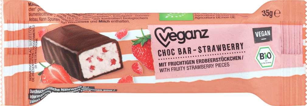 Abbildung des Sortimentsartikels Veganz Bio-Choc-Bar Strawberry vegan 35g