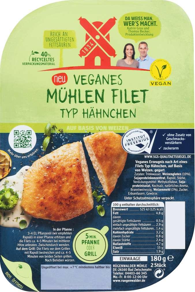 Abbildung des Sortimentsartikels Rügenwalder Mühle Filet Hähnchen klassisch vegetarisch 180g