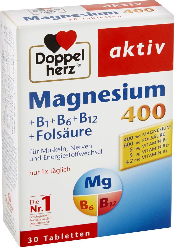 Abbildung des Sortimentsartikels Doppelherz Magnesium 400 Tabletten 30 Stück