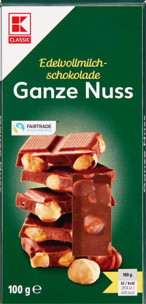 Abbildung des Sortimentsartikels K-Classic Schokolade Ganze Nuss 100g