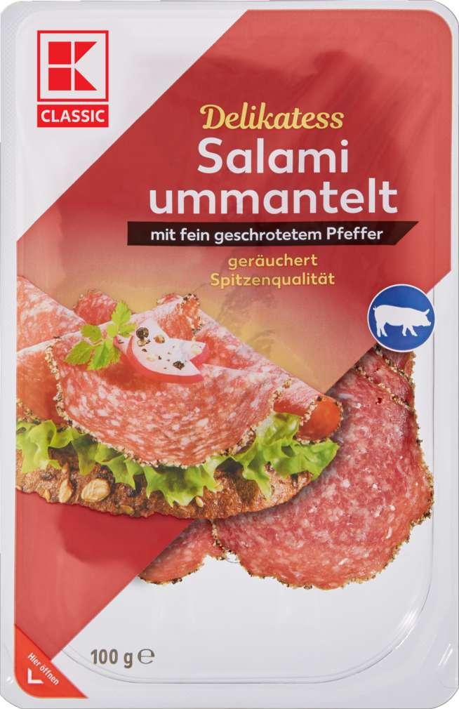 Abbildung des Sortimentsartikels K-Classic Salami, ummantelt mit Pfeffer 100g