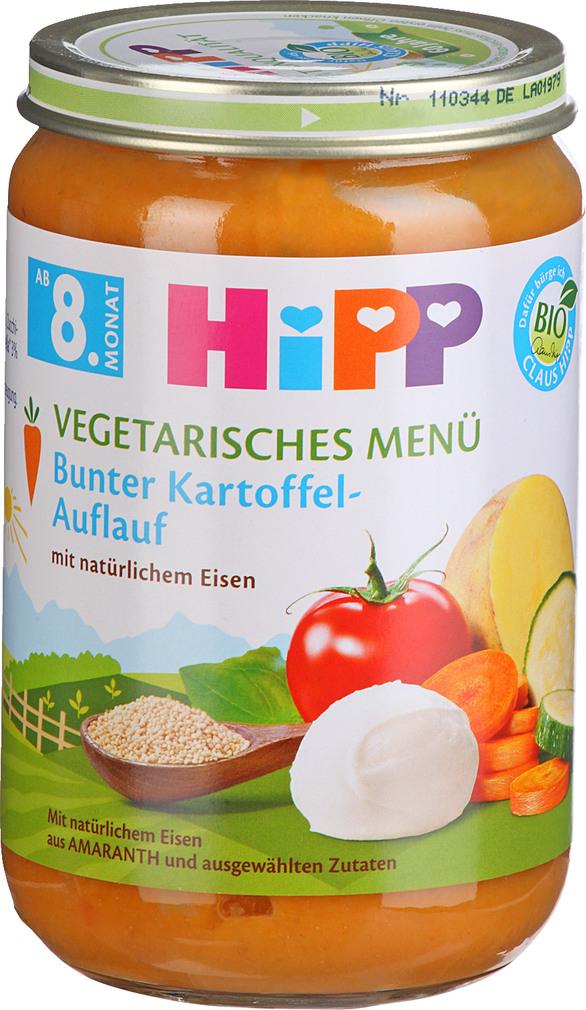 Abbildung des Sortimentsartikels Hipp Vegetarisches Menü Bunter Kartoffel-Auflauf 220g