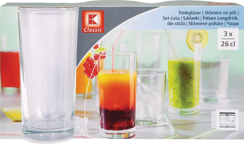 Abbildung des Sortimentsartikels K-Classic Longdrinkgläser 26cl 3 Stück