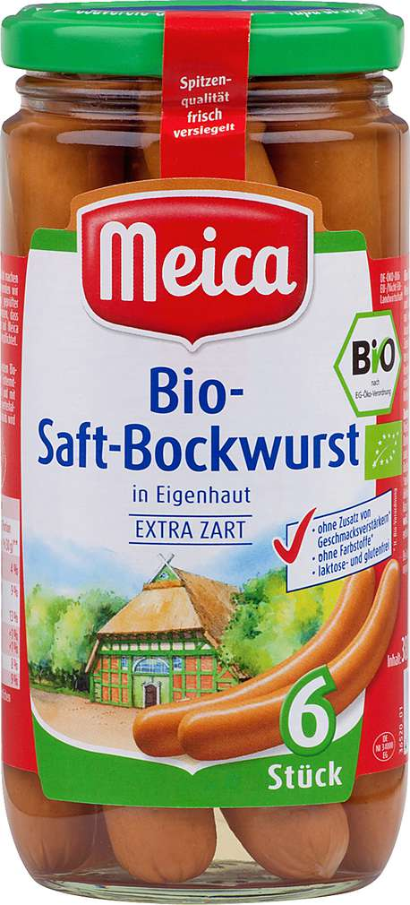 Abbildung des Sortimentsartikels Meica Bio-Saft-Bockwurst 380g, 6 Stück