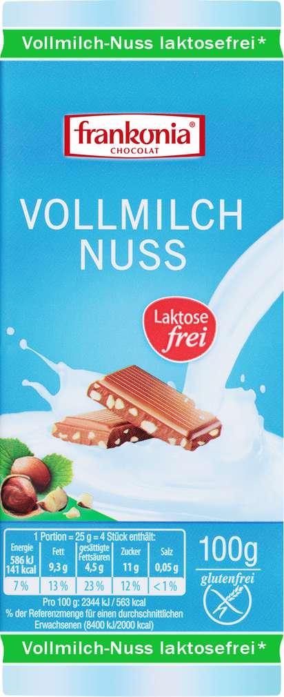 Abbildung des Sortimentsartikels Frankonia Chocolat Vollmilch Nuss Laktosefrei 100g