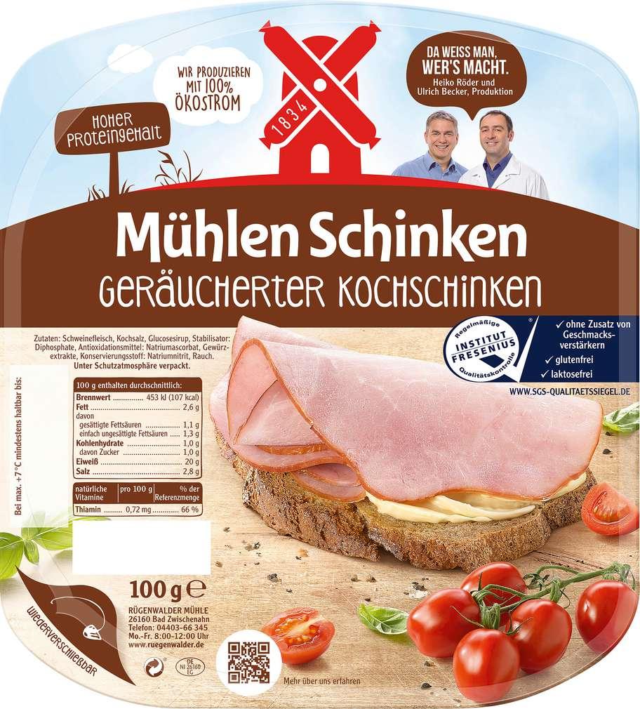 Abbildung des Sortimentsartikels Rügenwalder Mühle Mühlen Schinken geräucherter Kochschinken 100g