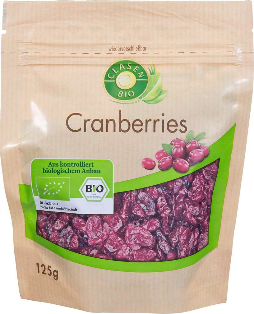 Abbildung des Sortimentsartikels Clasen Bio Cranberries 125g