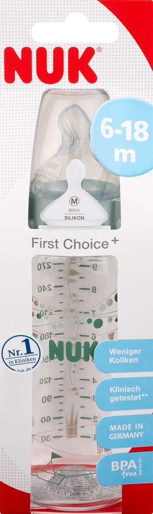 Abbildung des Sortimentsartikels Nuk First Choice+ Trinkflasche mit Sauger aus Silikon M 300ml