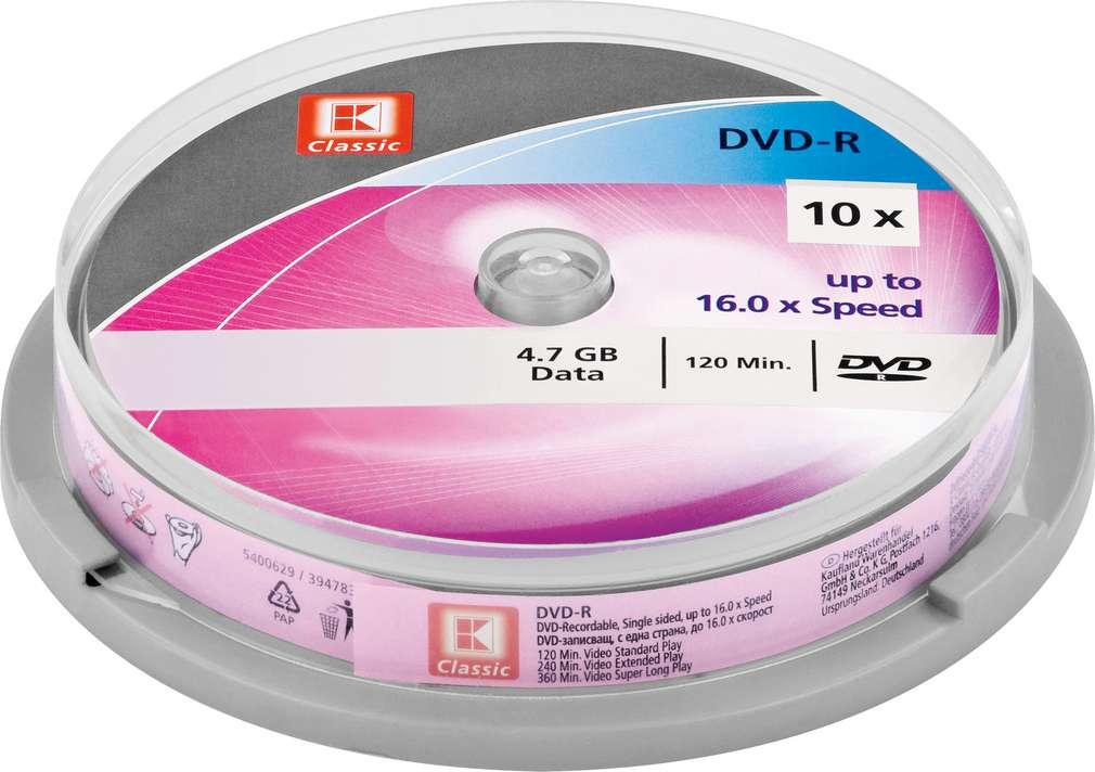 Abbildung des Sortimentsartikels K-Classic DVD-R 4,7GB Data 10 Stück