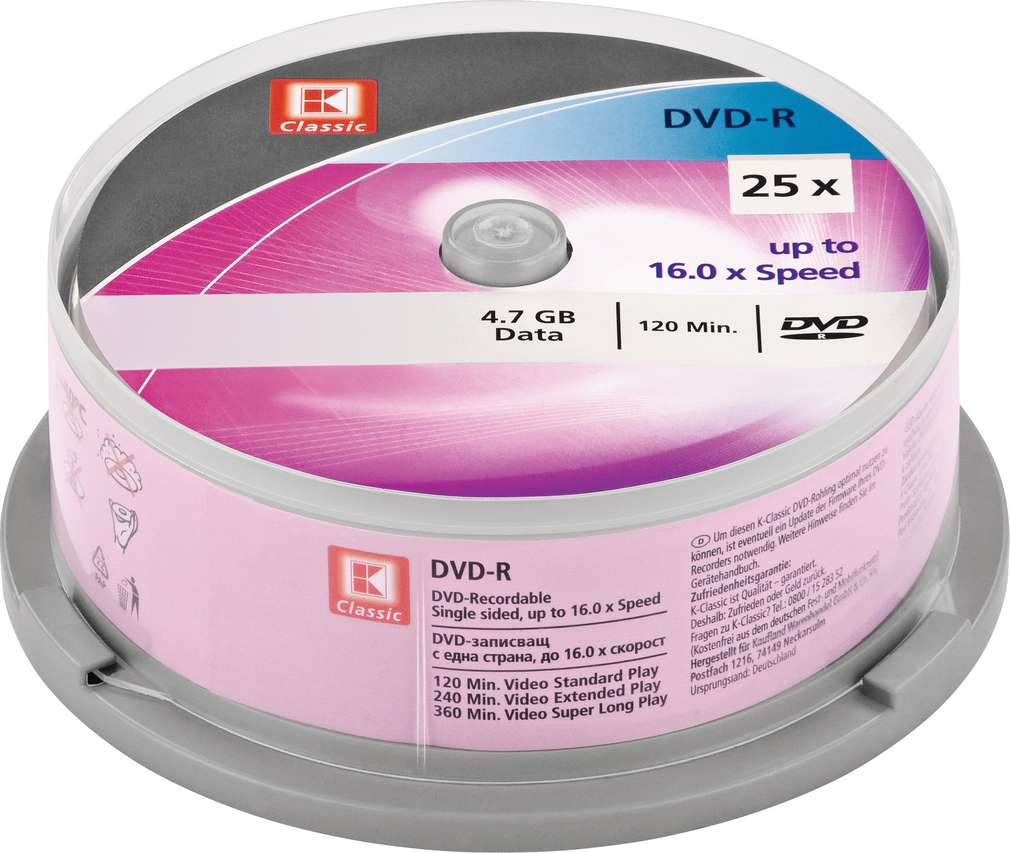 Abbildung des Sortimentsartikels K-Classic DVD-R 4,7GB 25 Stück
