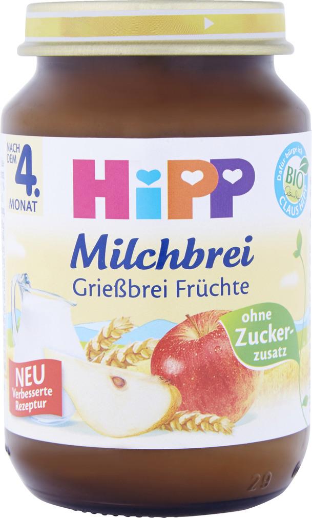 Abbildung des Sortimentsartikels Hipp Milchbrei Grießbrei Früchte 190g
