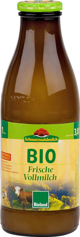 Abbildung des Sortimentsartikels Schwarzwaldmilch Frische Bio Vollmilch 3,8 % 1l