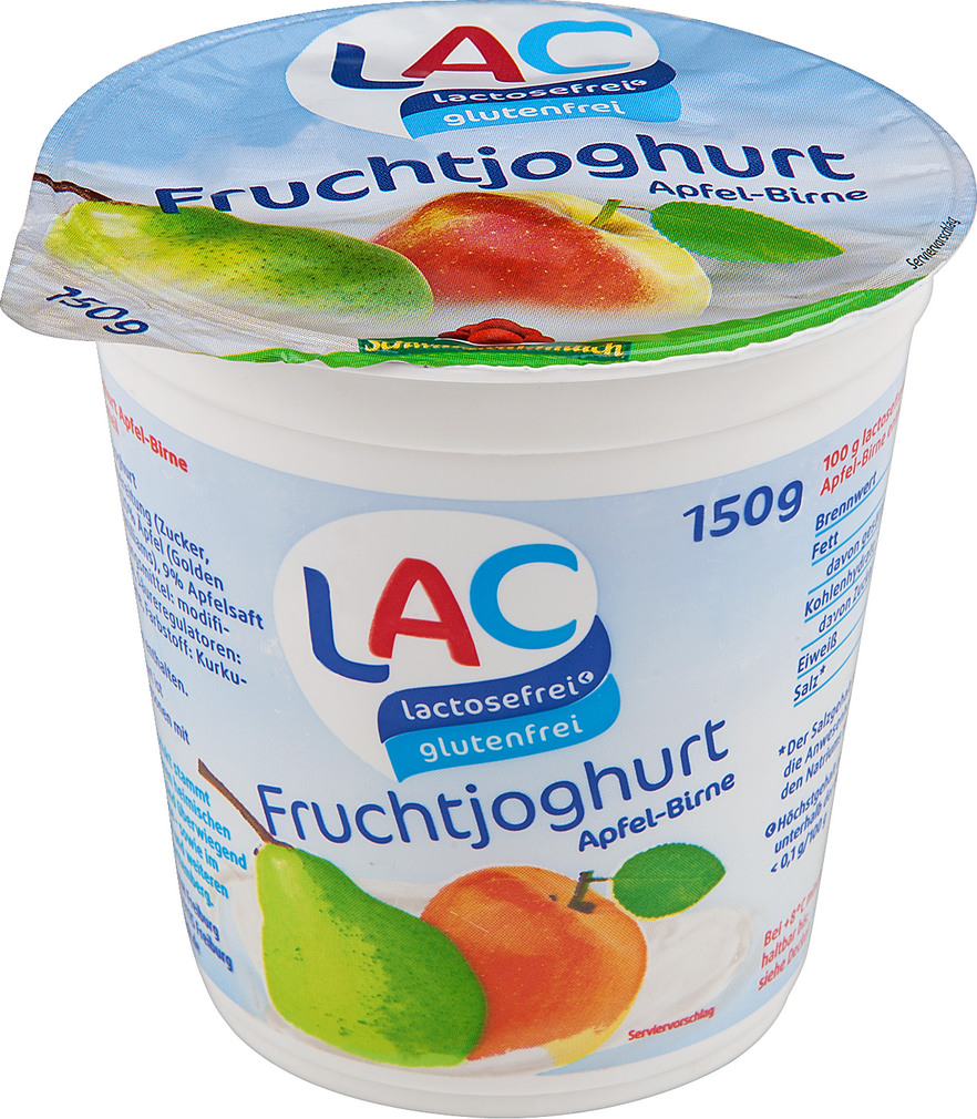 Abbildung des Sortimentsartikels LAC lactosefrei Joghurt Apfel-Birne laktosfrei 150g