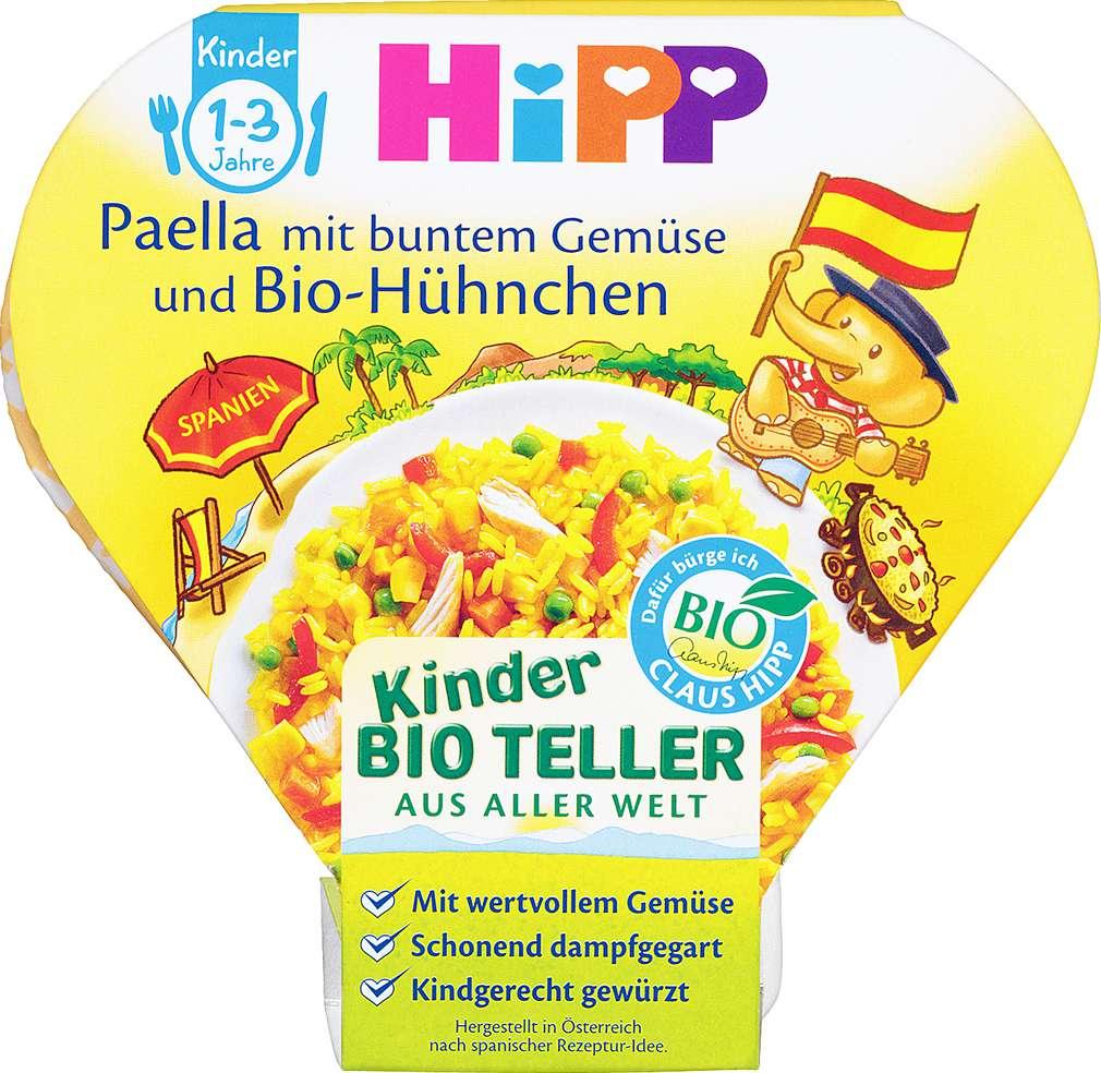Abbildung des Sortimentsartikels Hipp Kinder Bio Teller Paella mit buntem Gemüse und Bio-Hühnchen 250g