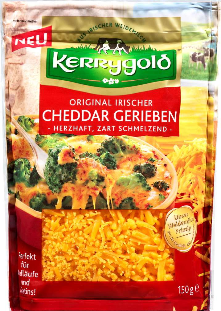 Abbildung des Sortimentsartikels Kerrygold gerieben Irischer Cheddar 50% Fett i.Tr. 150g