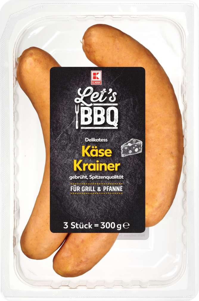 Abbildung des Sortimentsartikels K-Classic Käse Krainer Bratwurst 3x100g