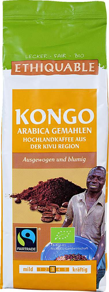 Abbildung des Sortimentsartikels Ethiquable Kongo Arabica gemahlen 250g