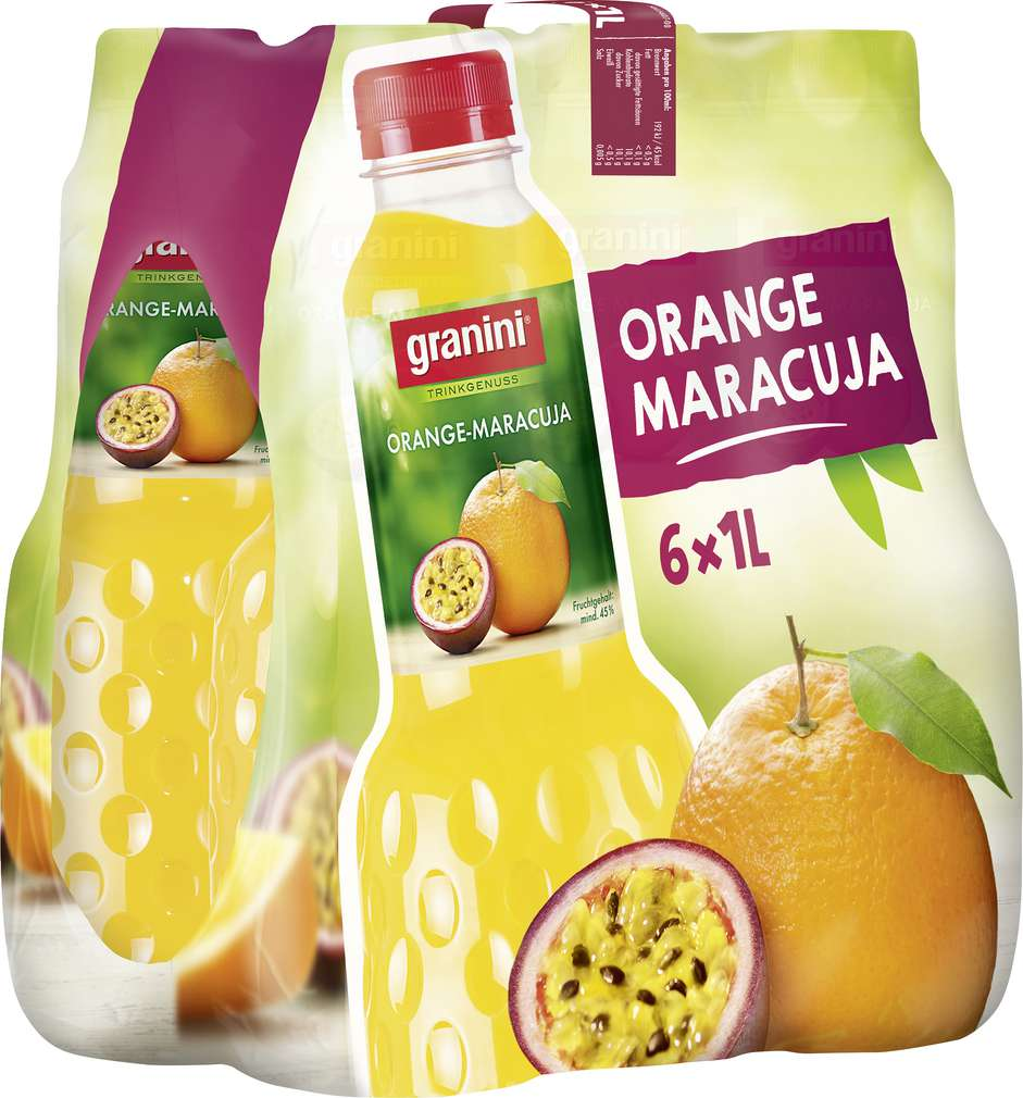 Abbildung des Sortimentsartikels Granini Trinkgenuss Orange-Maracuja-Nektar 6x1l