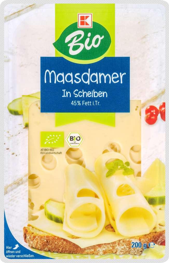 Abbildung des Sortimentsartikels K-Bio Maasdamer Scheiben 45% Fett i.Tr. 200g