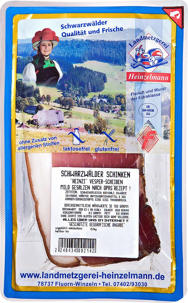Abbildung des Sortimentsartikels Landmetzgerei Heinzelmann Schwarzwälder Schinken  100g