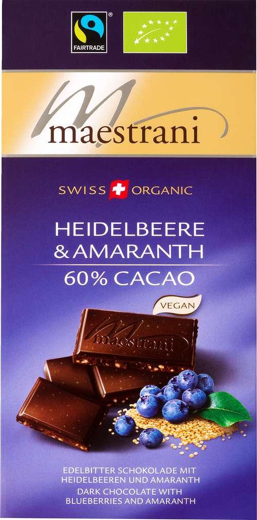 Abbildung des Sortimentsartikels Maestrani Swiss Bio-Schokolade Heidelbeere & Amaranth 80g