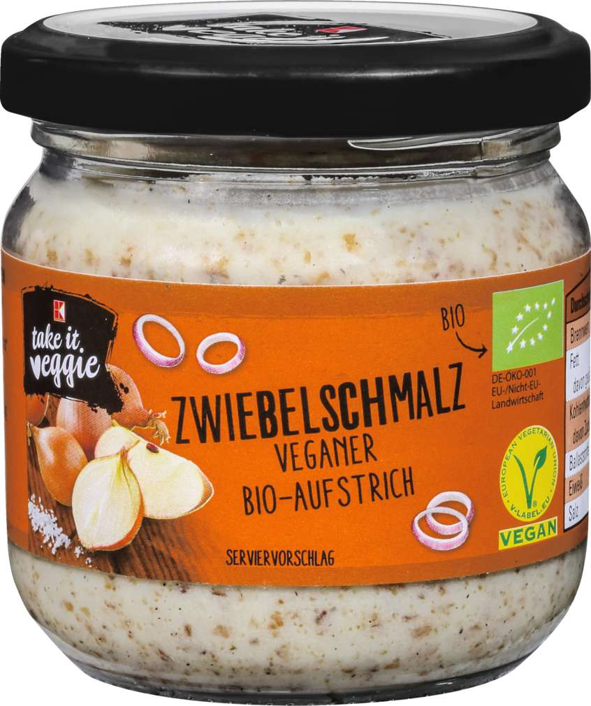 Abbildung des Sortimentsartikels K-Take it Veggie Bio-Brotaufstrich Veg. Zwiebelschmalz K-Take it Veggie 150g