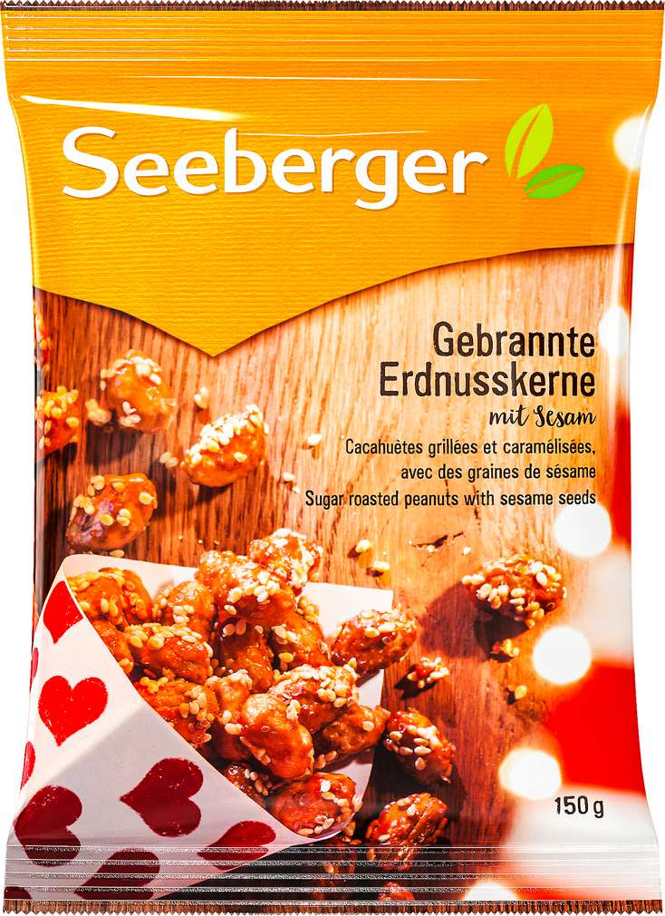 Abbildung des Sortimentsartikels Seeberger Gebrannte Erdnusskerne mit Sesam 150g